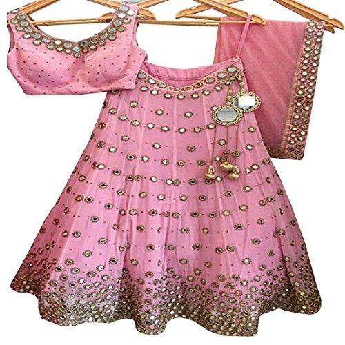Pramukh Enterprise New Light Pink Banglori Silk Wedding Lehenga Choli