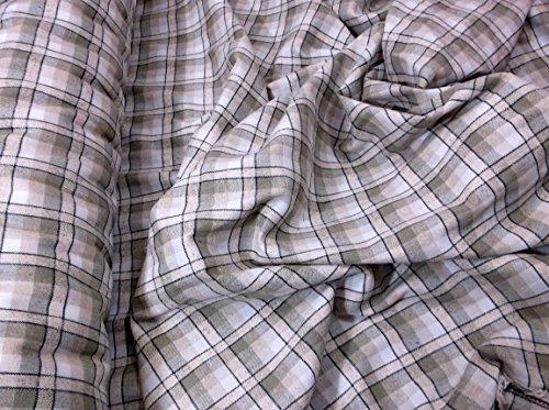 Beige, Stein, creme und schwarz kariert Stoff Polyester Viskose, Kilt, Tartan, Mini Rock, Shirt, Hosen, Craft Stoff Material - Tartan-mini-kilt