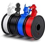 LABISTS Filamento PLA 1.75, Stampante 3D PLA 1kg (250g x 4) Bobine con 4 Colore (Nero, Bianco, Blu, Rosso)