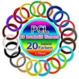 3D Pen Filament Nachfüllungen PCL ,20 verschiedene Farben 16.4 Ft Jeder ,beinhalten 2 Glow Farben und 2 Fluo Farben Für 1.75mm 3D Drucker und 3D Printing Pen, mit Papiermuster und PC-transparenter Platte. (PCL)