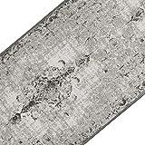 casa pura Teppichläufer im Vintage Look | brilliante Farben | hochwertige Meterware, gekettelt | Kurzflor Teppich Läufer | Küchenläufer, Flurläufer (Grau, 80x350 cm)