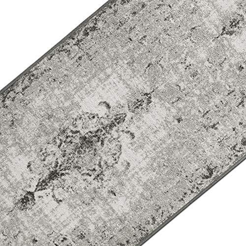 casa pura Teppichläufer im Vintage Look | brilliante Farben | hochwertige Meterware, gekettelt | Kurzflor Teppich Läufer | Küchenläufer, Flurläufer (Grau, 80x100 cm)