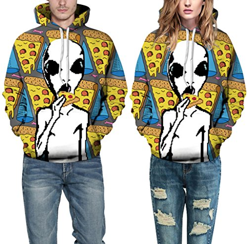 Pretty321 Women Girl Pizza Full Print Funny Alien Hoodie Sweatshirt with Pocket Amazon