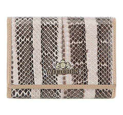 WITTCHEN Damen Geldbörse Portemonnaie, 2x12x9.5cm, Braun/beige, Lackleder, Naturleder, Leder, Handmade, (12 Magische Münze)