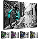 Whats On Your Wall.com AB1778 WOYW Framed Canvas Print - A Modern Wall Art - Abstract Picture - Colour Options - Teal Black White Bike - Living Room & Home Decor with Easy Hang Guide (40x60)