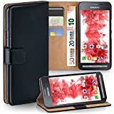 moex Samsung Galaxy Xcover 3 | Hülle Schwarz mit Karten-Fach 360° Book Klapp-Hülle Handytasche Kunst-Leder Handyhülle für Samsung Galaxy Xcover 3 Case Flip Cover Schutzhülle Tasche