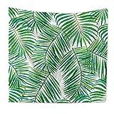 Tapestry Wandbehang, Grüne Tropische Blätter Natürliche Palm Blätter Bananenblatt Pflanze Wand Kunst Zimmer Dekoration Decke,C,59X51.1In