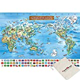 Chamberart Kinder-Weltkarte, 500 Teile Puzzle, inklusive Beutel