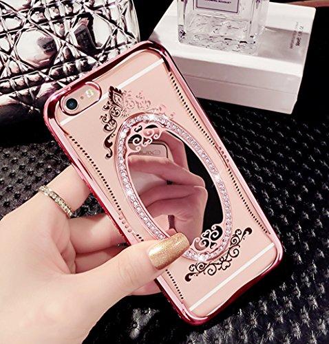 Etui pour iPhone 6 6s Transparente Housse,Vandot TPU Coque iPhone 6 6S Fashion Diamant Design Case Gel Silicone Souple Couverture iPhone 6 6S 4.7 Pouces Légère Slim Flexible Coque Protecteur Fonction  TPU Miroir-1