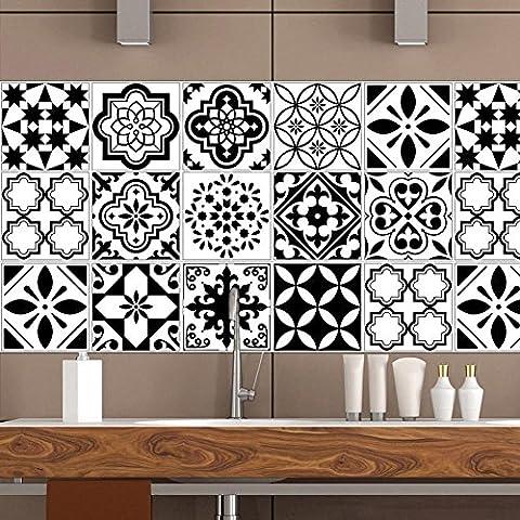 Adhésif décoratif - Autocollant carrelage| Stickers carreau ciment - Rénover mural de salle de bain et cuisine | Facile à appliquer et repositionable | Design Classique | 20*100cm*5pcs,cz023 , 20*100cm*4pcs