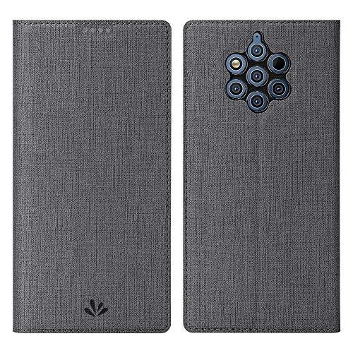 Eactcoo Ersatz für Nokia 9 Pureview Hülle,Premium PU Leder klappbares Folio Flip Case TPU Cover Bumper Tasche Mit Standfunktion Magnetverschluss Kartenfach Wallet Handyhülle(Nokia 9 Pureview, Gray)