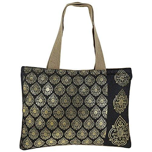Swayam Shimmer Naturfaser Jute-Einkaufstasche mit Goldfolie Grafik mit gestepptem gepolstertes Innenfutter Multi-31