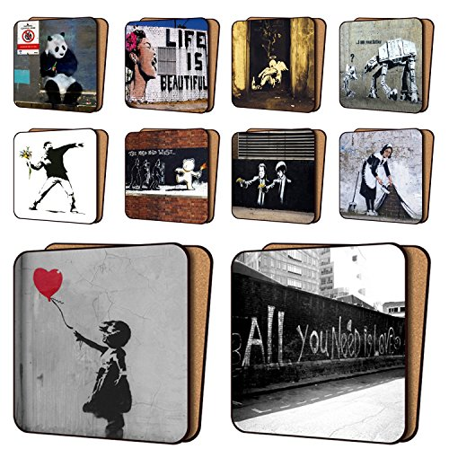 banksy-print-coasters-pack-of-10-new-art-coasters-furniture-dinnerware-sets-11cm-x-11cm