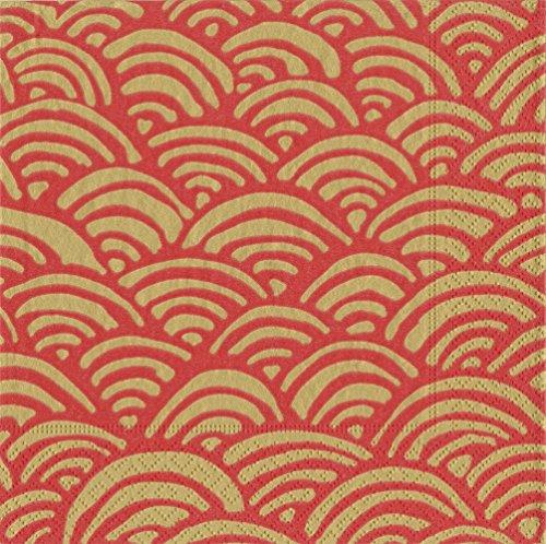 Caspari Paket von 20Servietten Luncheon lulu\' S, Stoff, rot, 16.5x 16.5x 0,2cm