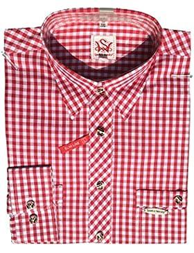 Trendiges Trachtenhemd Peine | Rot-Weiß kariert | Gr. XS | Slim Fit | 100% Baumwolle | Spieth & Wensky | zünftig...