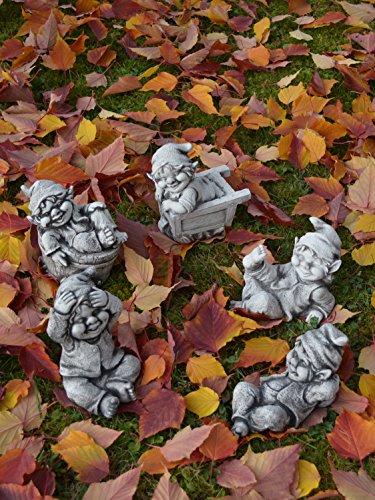 Sonderangebot: Stück 5 lustige kleine Gnome Trolle Wichtel aus Steinguss frostfest - 8