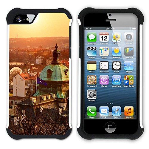 Graphic4You Prag Tschechische Republik Postkarte Aussicht Hart + Weiche Kratzfeste Hülle Case Schale Tasche Schutzhülle für Apple iPhone SE / 5 / 5S Design #1