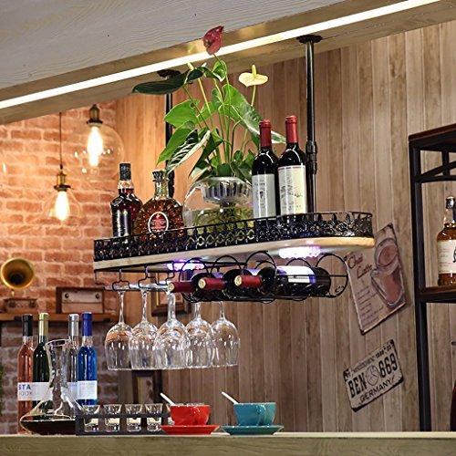 Btjj porta bicchiere da vino illuminato, portabottiglie da vino retrò vintage, bar ktv capovolto (colore : nero, dimensioni : 80*28cm)
