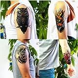 Dalin 4 Sheets Temporary Tattoos, Lotus, Owl, Skull