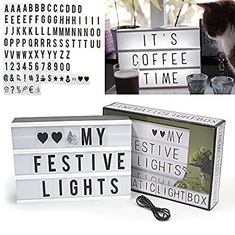 Rayinblue Cinematic Light Box LED Lightbox A4 Size with 100 Black Characters Light Up Your Life Box