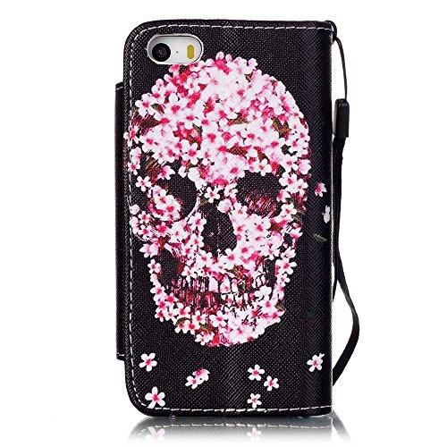 iPhone 6/6S (4.7 Zoll) Hülle - Einhorn Linvei® Flip Ledertasche Protective Case Schutzhülle für iPhone 6/6S (4.7 Zoll) Tasche Wallet Case Cover (Rosa) Schädel