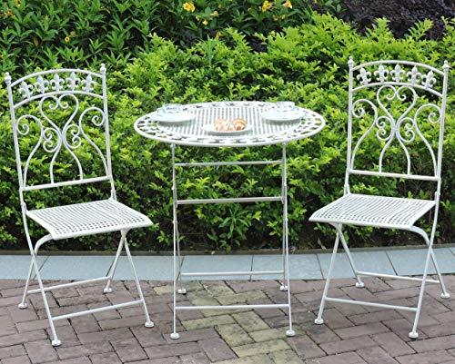 GlamHaus Gartenmöbel Bistro Terrasse 3-teilig klappbar Metall Gartenmöbel Balkonmöbel Klapptisch und Zwei Stühle Antik Creme Schöne Handarbeit Vintage Outdoor Dining Paris