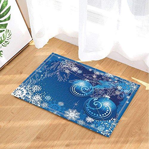 AdaCrazy Schneekugel mit Weihnachtsbaum, Rutschfester Teppich, für Sommer, Eingang, Tür, vorne, Kinderteppich, 15 x 23,6 cm, Blau