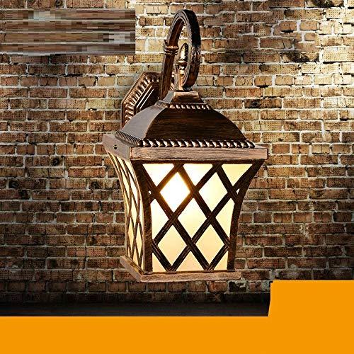 Außenwandleuchten Wandleuchte europäischen Outdoor wasserdicht Balkon Garten Beleuchtung Aluminium führte retro Outdoor Wand Gang Wandleuchte, große Bronze -