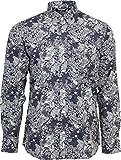Relco Herren Marineblau & Weiß geblümt Paisley langärmlig Knöpfe Klassisches Hemd MOD 60s Jahre 70s Jahre - Marineblau, Small