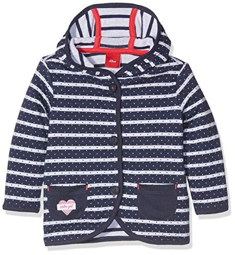 s.Oliver Baby-Mädchen Sweatshirt-Jacke, Blau (Tiefseeblau Stripes 58G9), 74 (Mädchen Baby Sweatshirts)