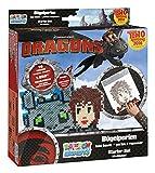 Craze 54414 - Rainbow Beadys Bügelperlen Starter Set Dreamworks Dragons, 1050 Perlen inklusiv Zubehör, schwarz