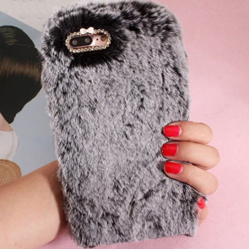 iPhone6S Art Cover, Handmade Fluffy Villi Wool Cute Ball Tail Winter Warm Soft Custodia, TAITOU Beautiful Special Full Wool Design Light Slim Protection Phone Cover For Apple iPhone 6 Brown BBlack