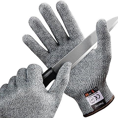 FREETOO Gants Anti-Coupure Protection De Cuisine Bricolage- Résistant, Souple, Flexible, Antidérapant, Lavable Et Vert Pour Aliments-- M