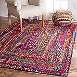 2 x 3 tappeto intrecciato, tappetino multicolore, tappeti in cotone, tappeto intrecciato a mano per salotto