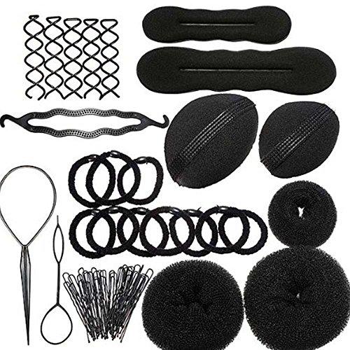 Femmes filles bricolage cheveux style Maker accessoires Kit Set cheveux tressé épingles à cheveux Clips cheveux chignon Donut insérer l'outil de beauté