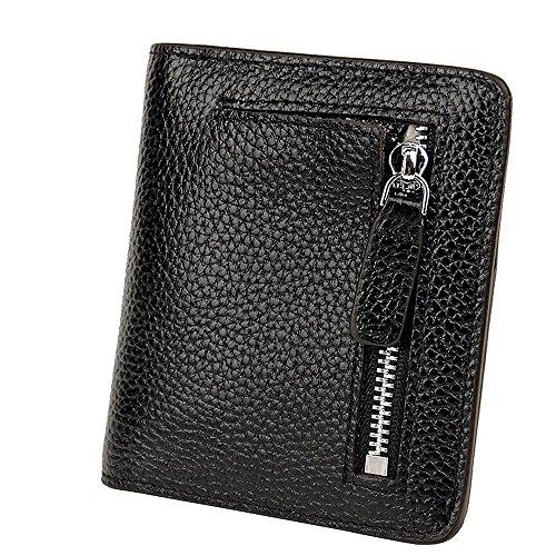 S-ZONE Damen Weich Rindsleder klein Compact Geldbörse Portemonnaie mit Reißverschluss Pocket ID Window (Geldbörse Id-kartenhalter)