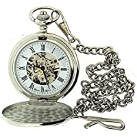 Boxx orologio da tasca numeri romani color argento meccanismo a vista catena 12