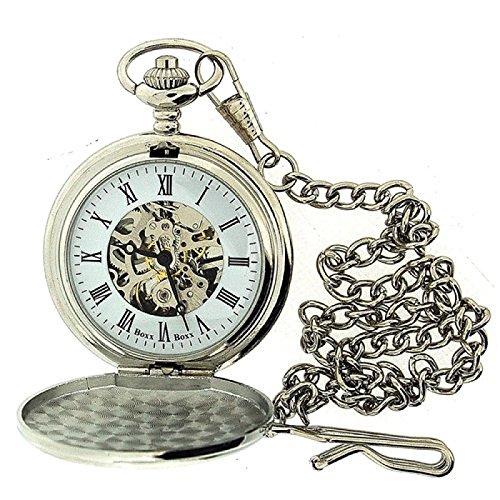 BOXX Herren Taschenuhr mit römischen Ziffern und silberfarbenem sichtbarem Uhrwerk sowie 30/31cm langer Kette