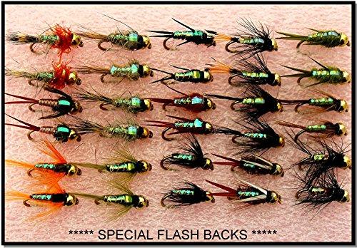 Arc fishing supplies Forellenfliegenfliegen, Fliegenfliegen, Goldkopf, 30 Stück Set 33J **** Spezieller Blinkhaken, Größe 12