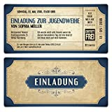 20 x Jugendweihe Einladungskarten Einladungen Jugendfeier - Vintage Eintrittskarten in Blau