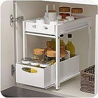 Sous-meuble de lavabo empilable,organiseur avec panier tiroir coulissant,pour cuisine et salle de bains,Noir,blanc,38.3…