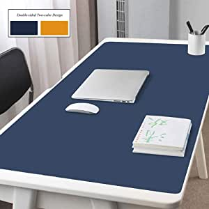 F-LFJBK Office Desk Pad Protector PU Leather Waterproof Mouse Mat,Anti-Slip Extended Writing Mat Laptop Pc Keyboard Large Desk Blotter Protector-Pink+Silver 130x65cm 51x26inch