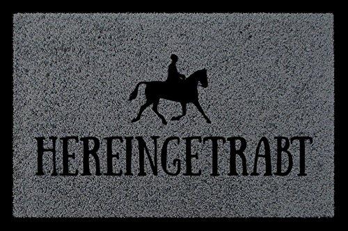 TÜRMATTE Fußmatte HEREINGETRABT Hobby Reiten Pferd Stall Türvorleger Geschenk Dunkelgrau