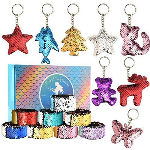 FEPITO 16 stücke Meerjungfrau Magie 2 Farben Pailletten Armbänder und Glitter Mermaid Schlüsselanhänger für Kinder Geburtstag Party Favors Supplies (Gelegentliche Stil)