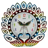 #9: CBS Plastic CBS Analog Peacock Wall Clock (Multi-Color, 30 cm x 4 cm x 30 cm)
