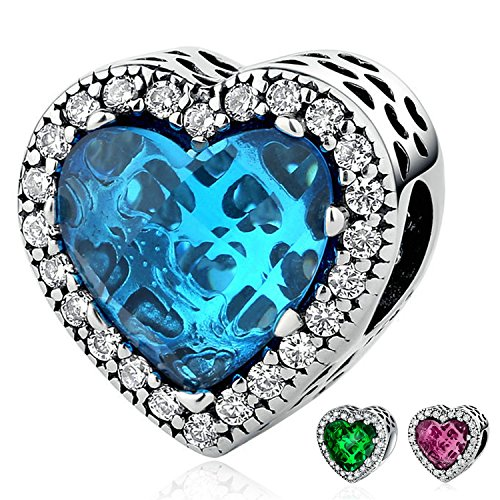 Youfeng gioielli in argento sterling 925ciondoli love cuore verde rosso blu 3style birthstone crystal bead charm bracciali e argento, colore: blue, cod. upsc