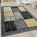Paco Home Kurzflor Teppich Geometrisch Modern Wohnzimmer Muster Grafik Gelb Grau Weiß, Grösse:80x300 cm