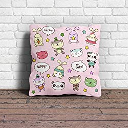Cushion Cover | funny Images Printed Pink Pillow cover 12x12 with Filler Ideal For Kids Room decoration