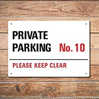 Wall Chimp Private Parking Personalised Metal Sign 29cm x 20cm with drilled holes