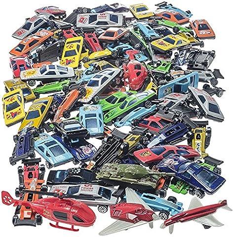 Prextex 100 Stk druckgegossene Spielzeugautos Party Gelegenheiten oder Kuchenaufsätze Spielzeug